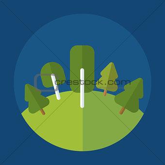 forest icon on round blue background