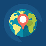 Map pin flat design style modern icon, pointer vector symbol