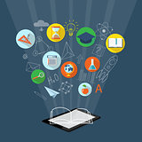 banner for on line education, e-book