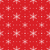 Snow Flakes Pattern Seamless on Red Background