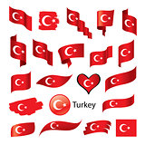 set of flags for Turkey