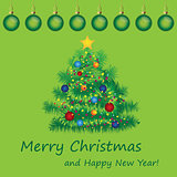 Merry Christmas postcard with fir.