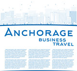 Outline Anchorage (Alaska) Skyline with Blue Buildings and copy