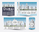 Corporate Identity templates set with Dubai skyline