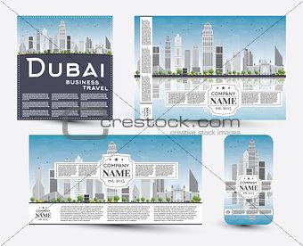Corporate Identity templates set with Dubai skyline