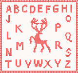 Christmas Knitted Font with Deer in red color
