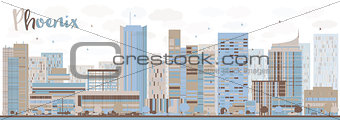 Abstract Phoenix Skyline with Color Buildings