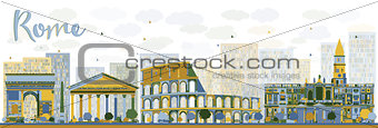 Abstract Rome skyline with color landmarks.