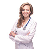 beautiful female smiling doctor isolated