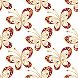 Seamless pattern with shiny butterflies