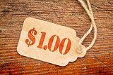 one dollar price tag