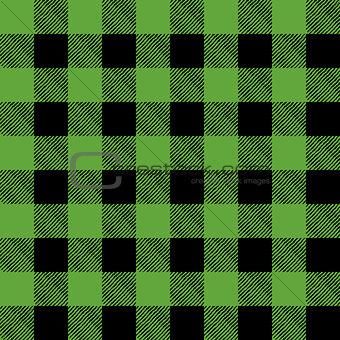 Tiled Green and Black Flannel Pattern Illustration