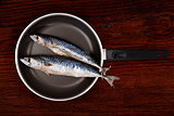 Fresh mackerel fish on pan.