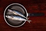 Fresh mackerel fish on pan.