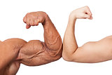 Huge and small biceps.