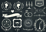 Retro chalk elements and icons set for retro design. Paris style