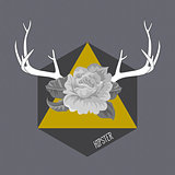 Hipster vintage background with deer's antlers and roses label.