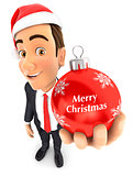 3d businessman christmas bauble