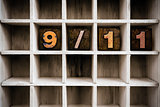 9/11 Concept Wooden Letterpress Type in Draw
