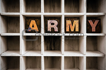 Army Concept Wooden Letterpress Type in Draw
