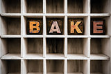 Bake Concept Wooden Letterpress Type in Draw