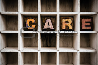 Care Concept Wooden Letterpress Type in Draw