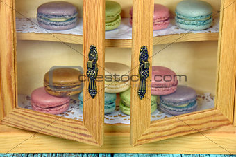 French macaroons in pantry