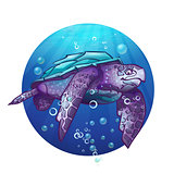 Cartoon image of a sea turtle