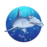 Hammerhead shark cartoon image