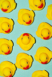 rubber ducks on a dot-patterned background