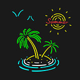 Vector Neon Symbol Palm Tree