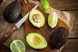 Sliced fresh avocado on cutting board