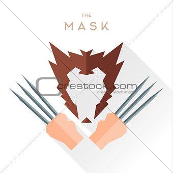 Mask Hero superhero flat style icon vector logo, illustration, villain