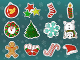 xmas holidays decorations cartoon vector set