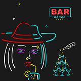 Vector Girl in The Bar