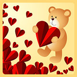 Teddy bear holding heart on love background