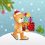 Christmas background with teddy bear and gifts