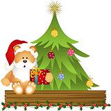 Teddy bear Santa Claus with Christmas gift