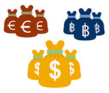 Money bags set vector design