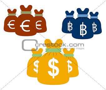 Money bags set vector design