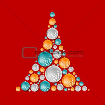 Bright abstract fir tree from Christmas balls