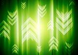 Green neon light with tech arrows
