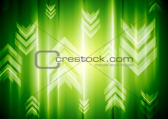 Green neon light with tech arrows