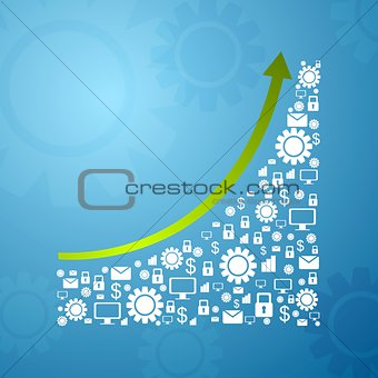 Abstract growing graph arrow with communication icons