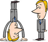 businessman upside down