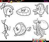 sea animals set coloring page