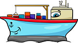 container ship cartoon character