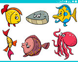 sea life fish cartoon set