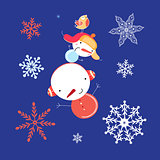 Beautiful snowman with snowflakes