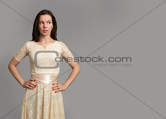 beautiful woman looking on copy space